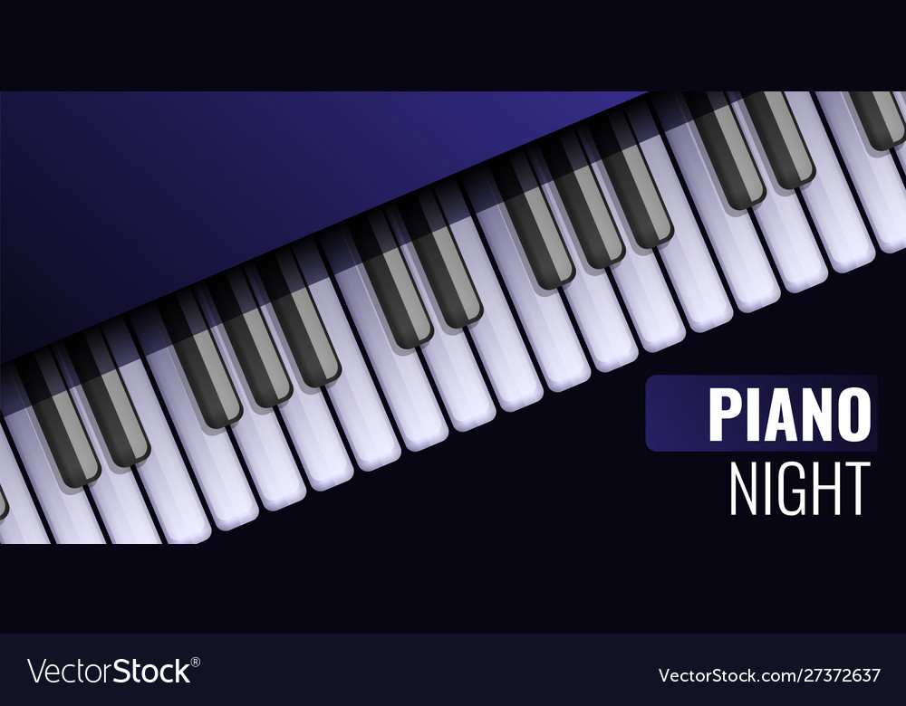 Piano Night Concept Banner Cartoon Style Vector Image