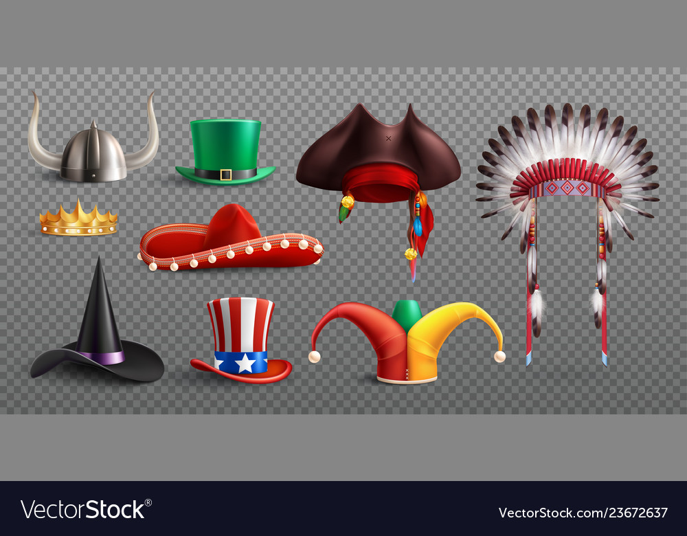 Realistic masquerade hats transparent set