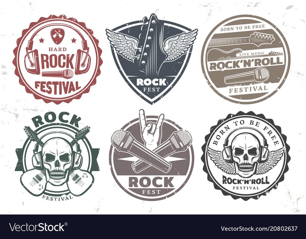 Retro rock music stamps set