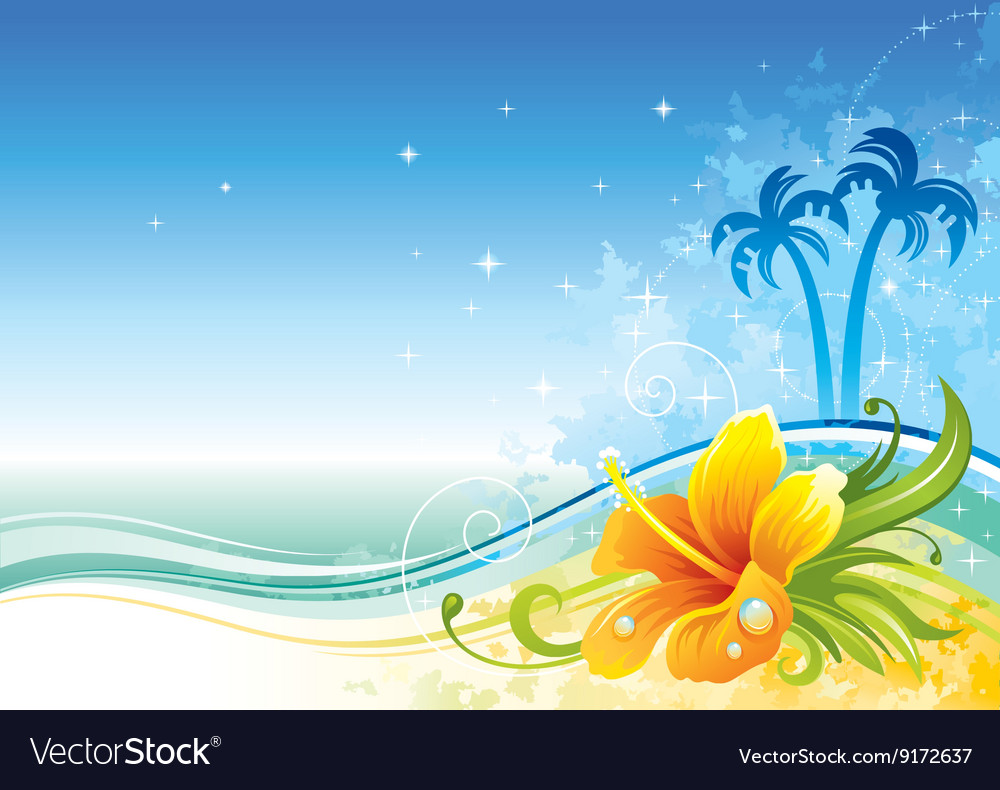 Sea background with hibiscus and palms