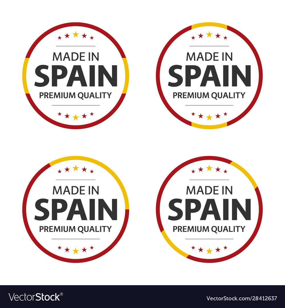 Set four spanish icons made in spain Royalty Free Vector