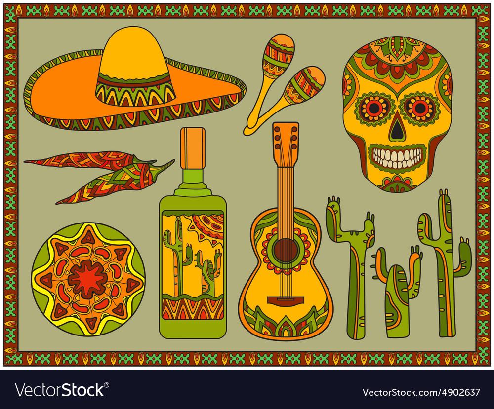 Set traditional mexican symbols