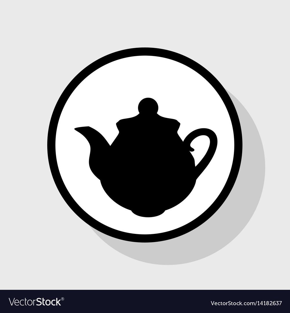 Tea maker kitchen sign flat black icon in vector image