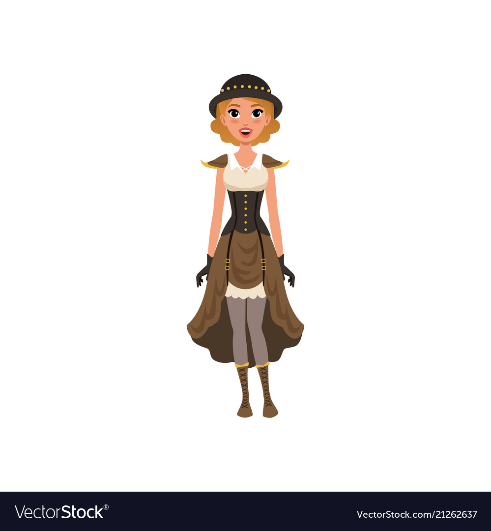 Woman in fancy steampunk clothing young girl in