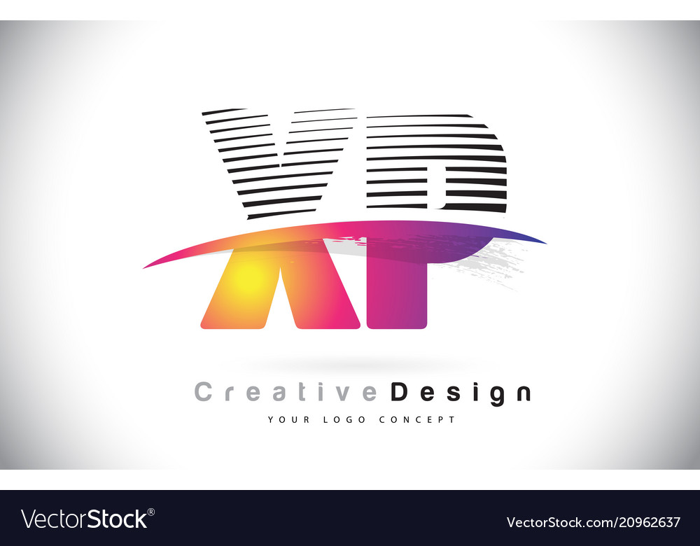 Xp x p letter logo design with creative lines and