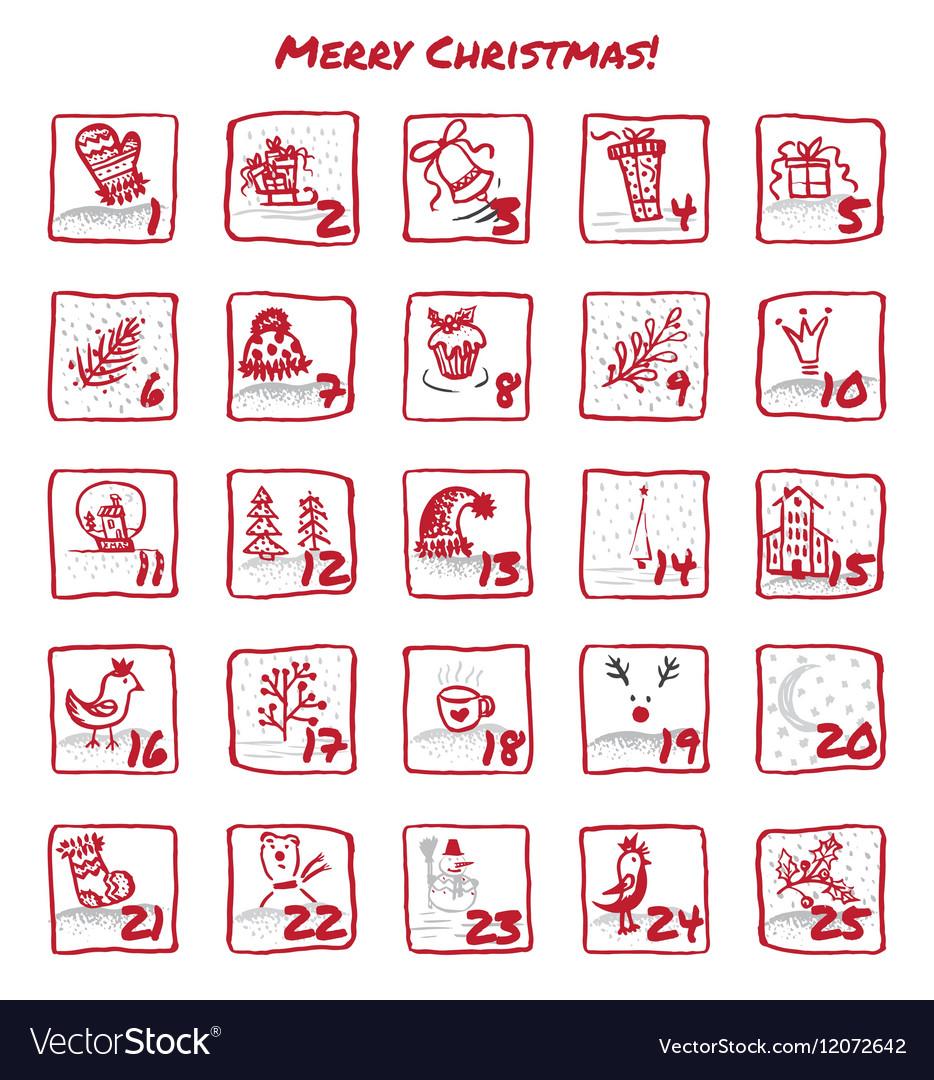 Advent Calendar 25 days of Christmas Set icons vector image
