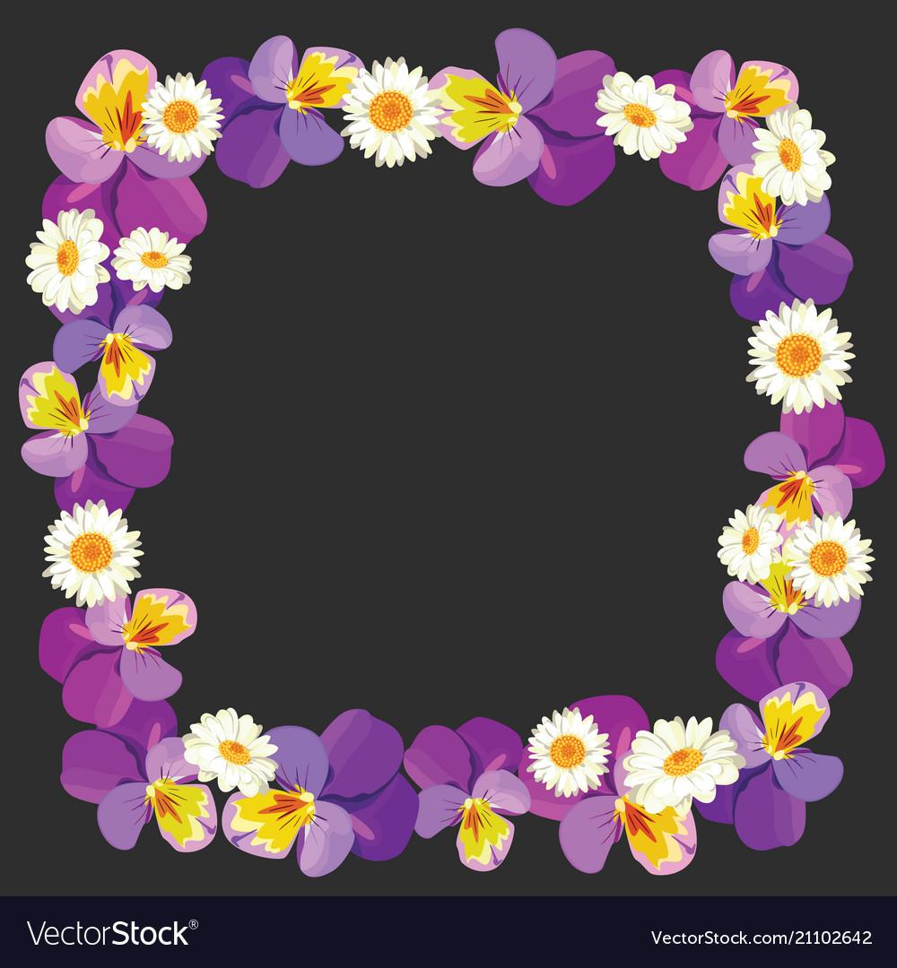 Floral empty frame on black background