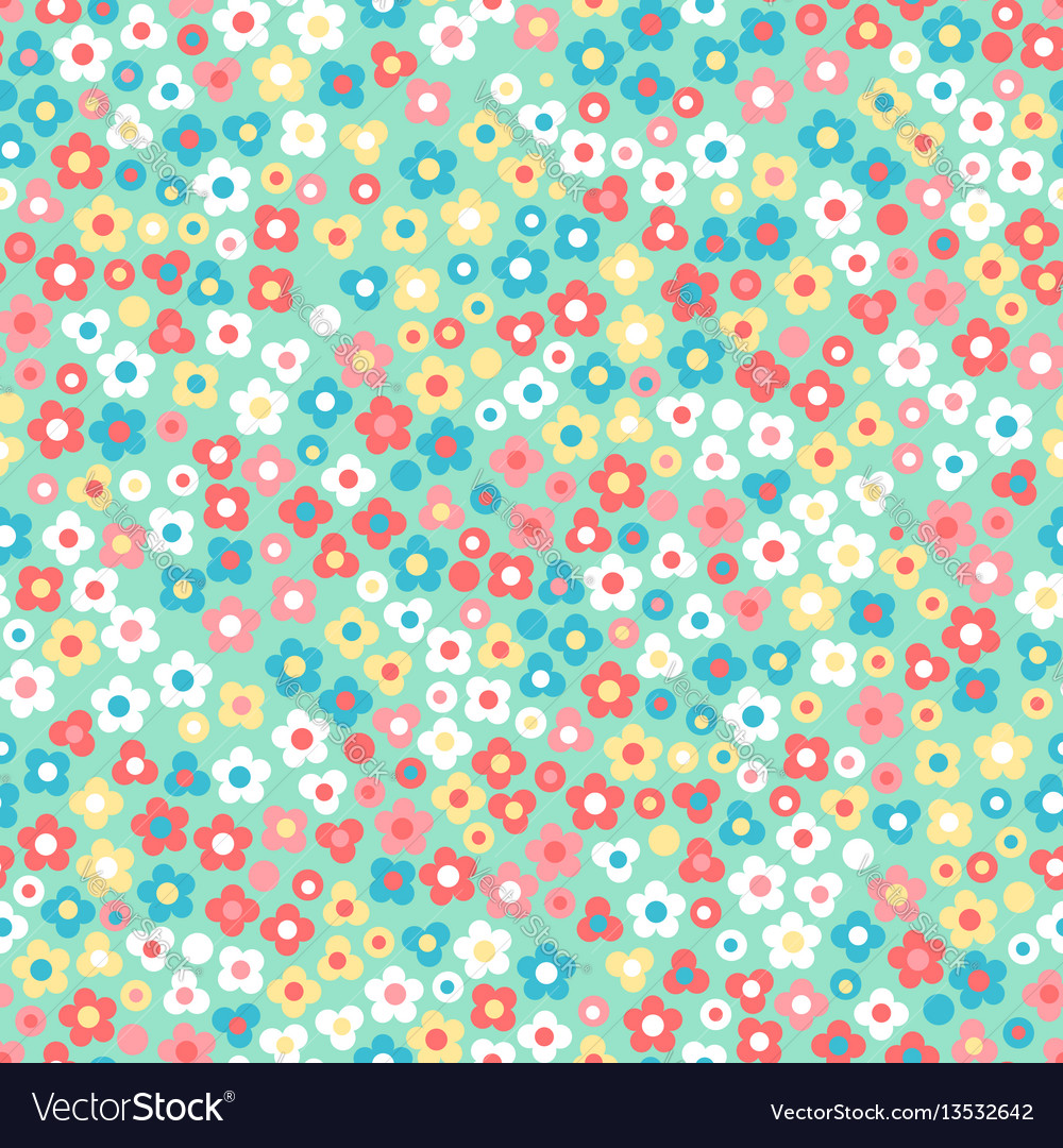 Floral seamless pattern small cute simple flowers vector image