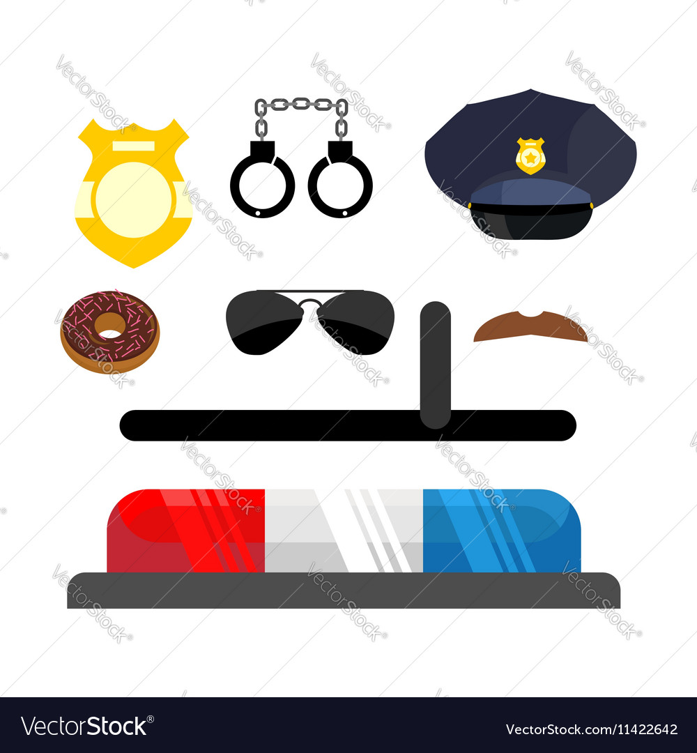 Police icons set Symbols policeman Cop accessories