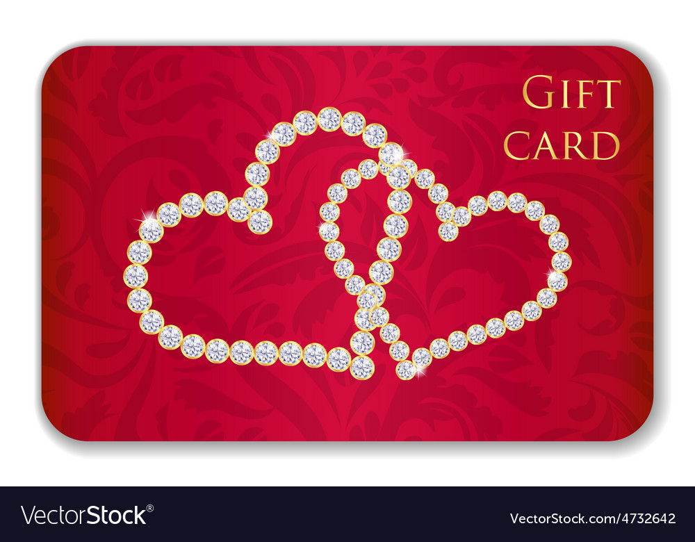 Red Valentine Gift Card With Entwined Hearts Vector Image