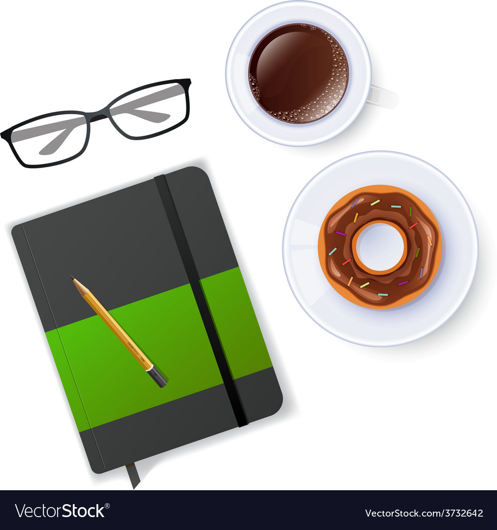 Scene with notebook and coffee