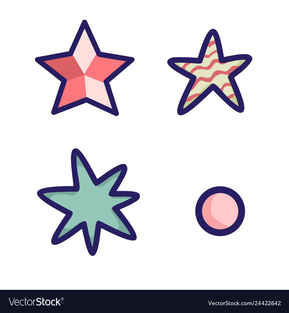 Set of black stars on white background