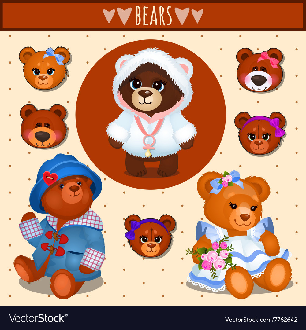 Set of brown Teddy bears father mother and baby
