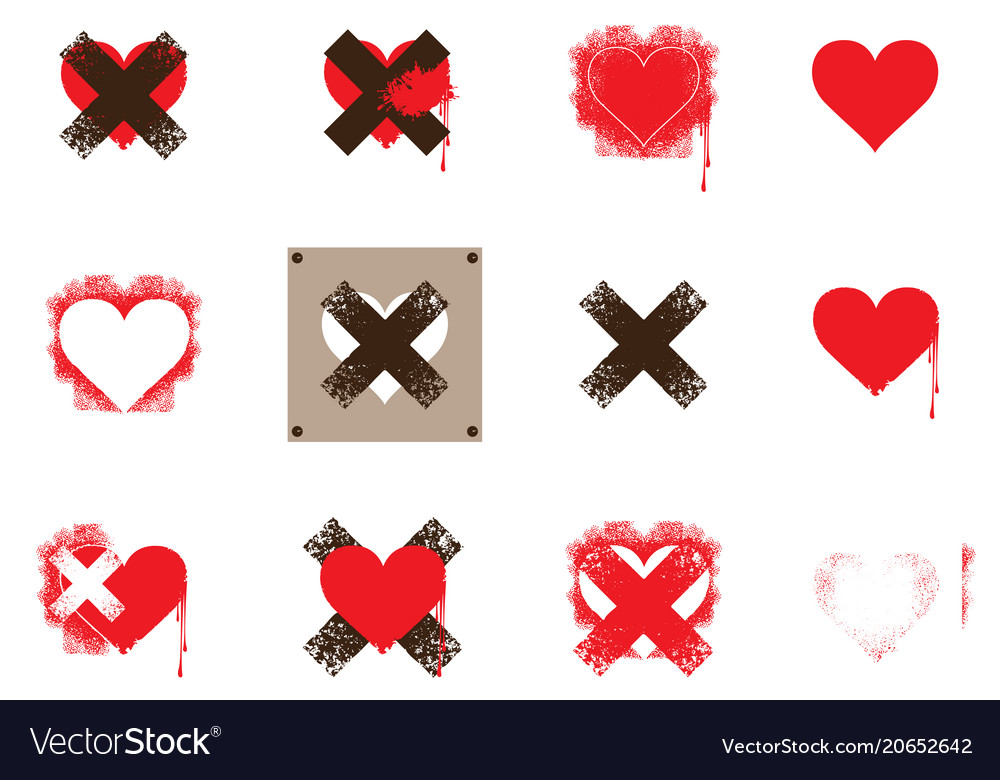 Set of icons with hearts and crosses