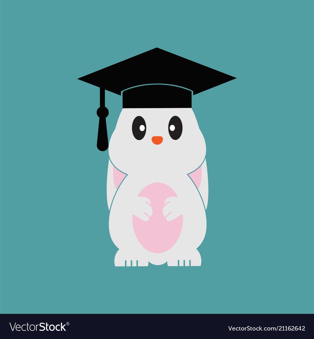 smart bunny wearing graduation cap template vector image