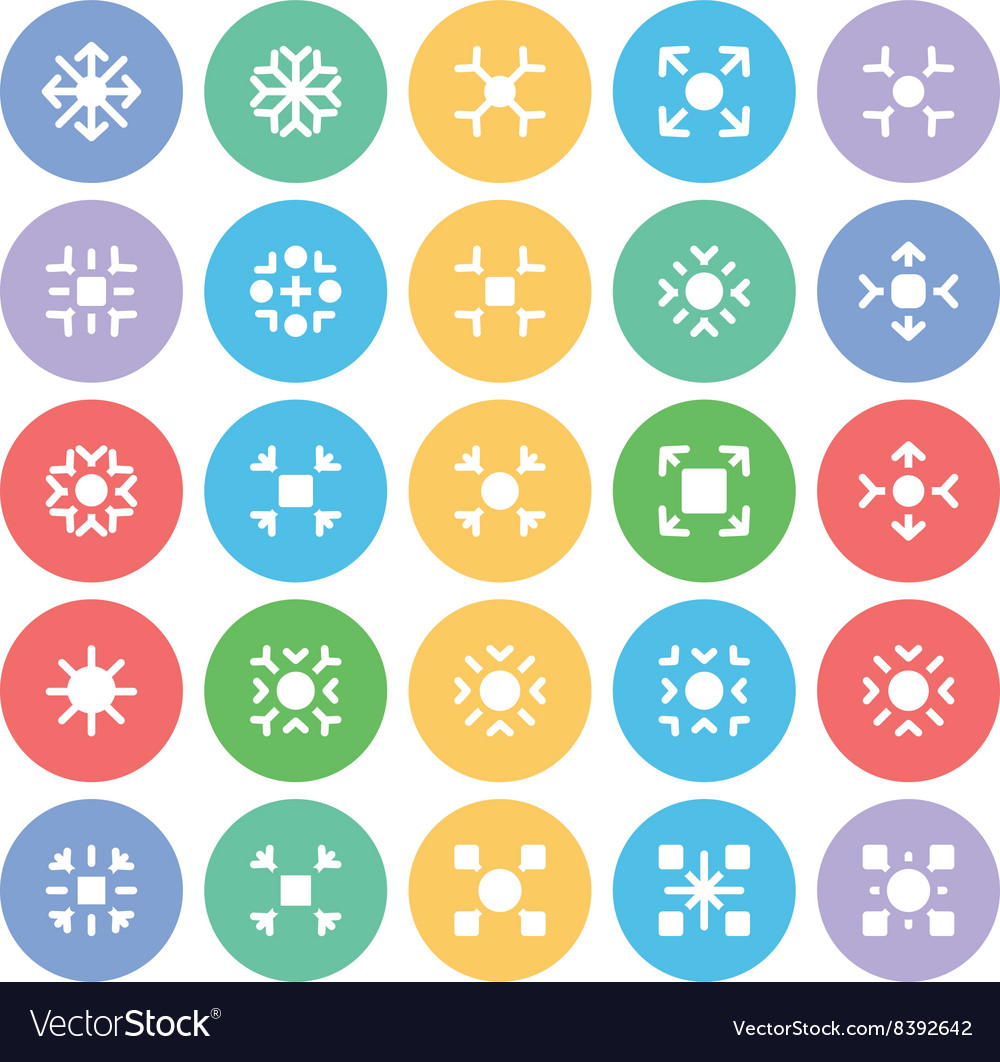Snowflakes Colored Icons 4