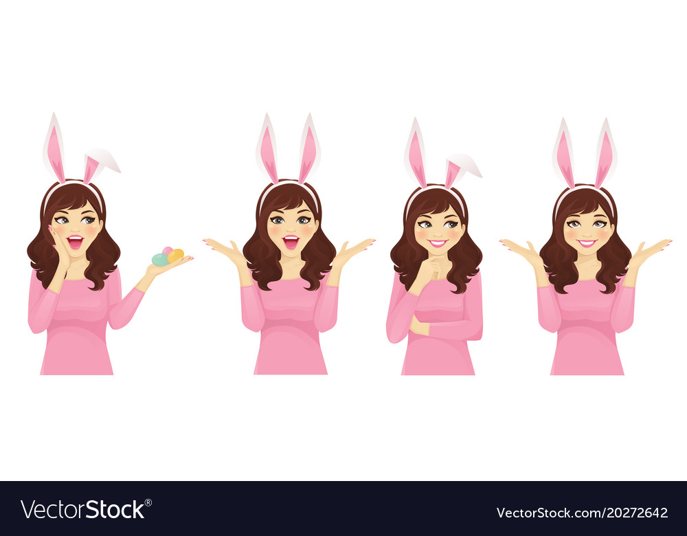 Surprised easter woman vector image