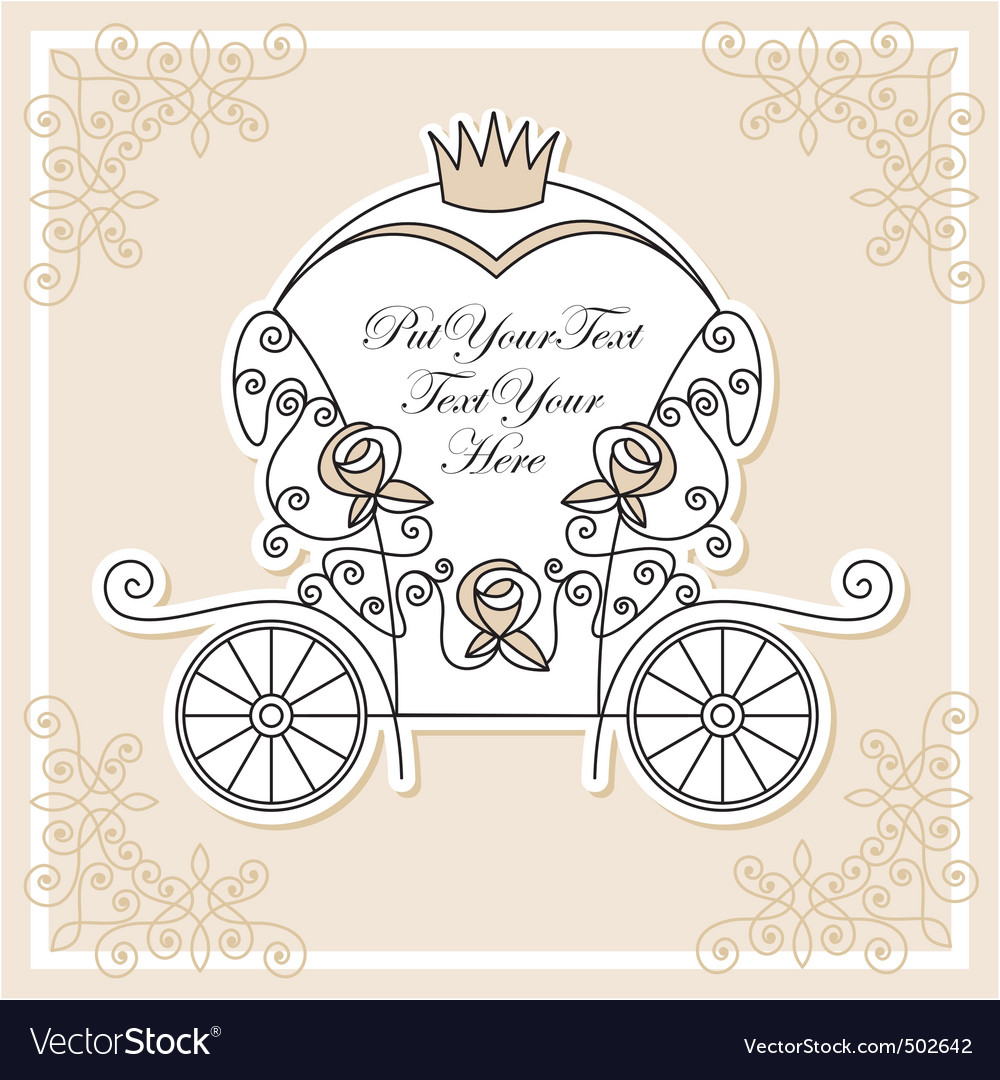 Description invitation design with wedding carriage Expanded License Yes