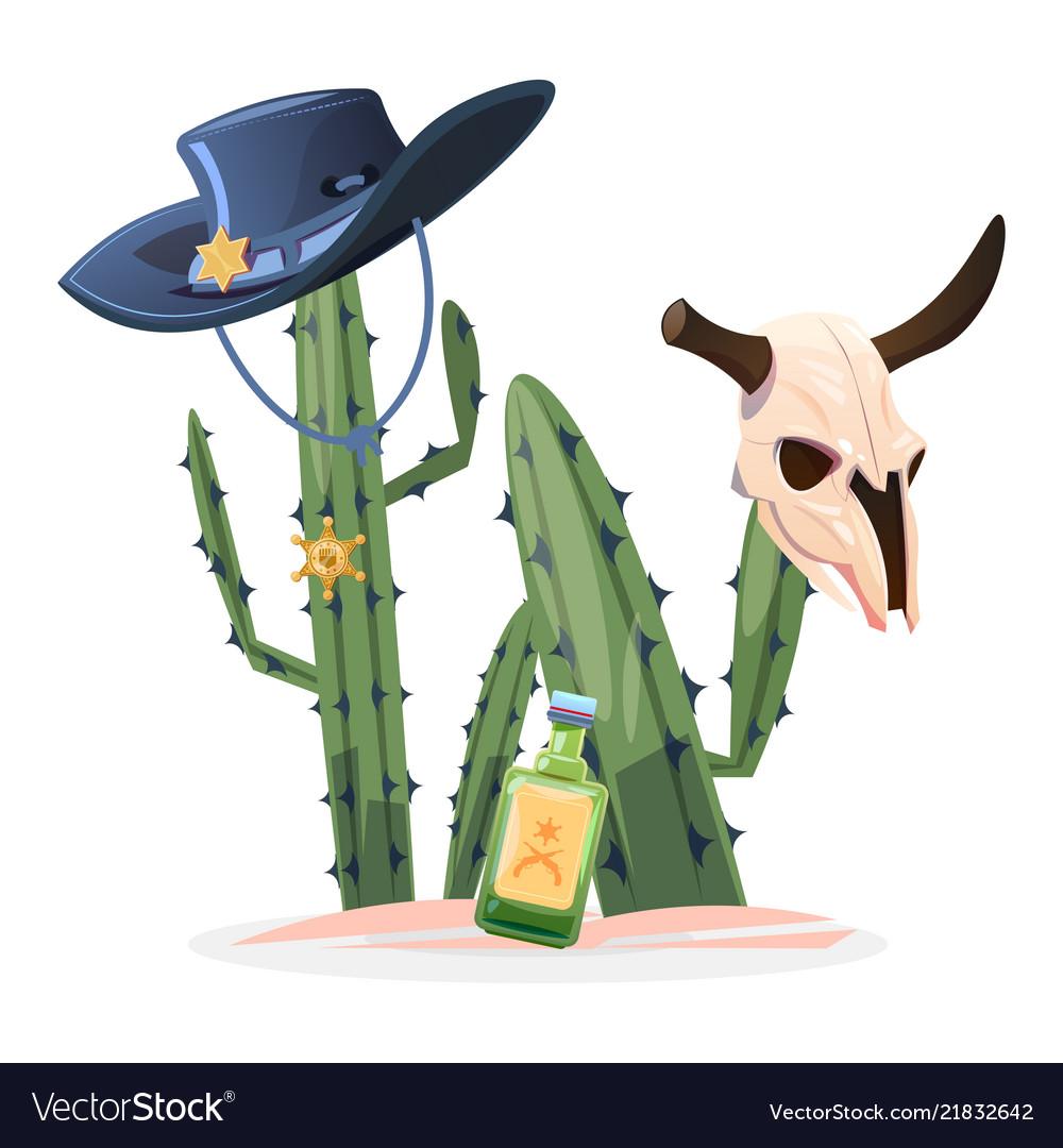 Wild west cactus bull skull