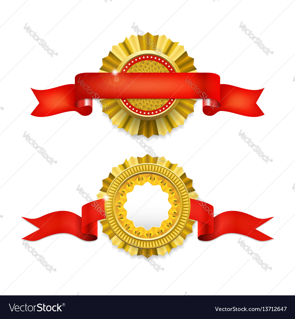 Blank golden award medal with ribbon