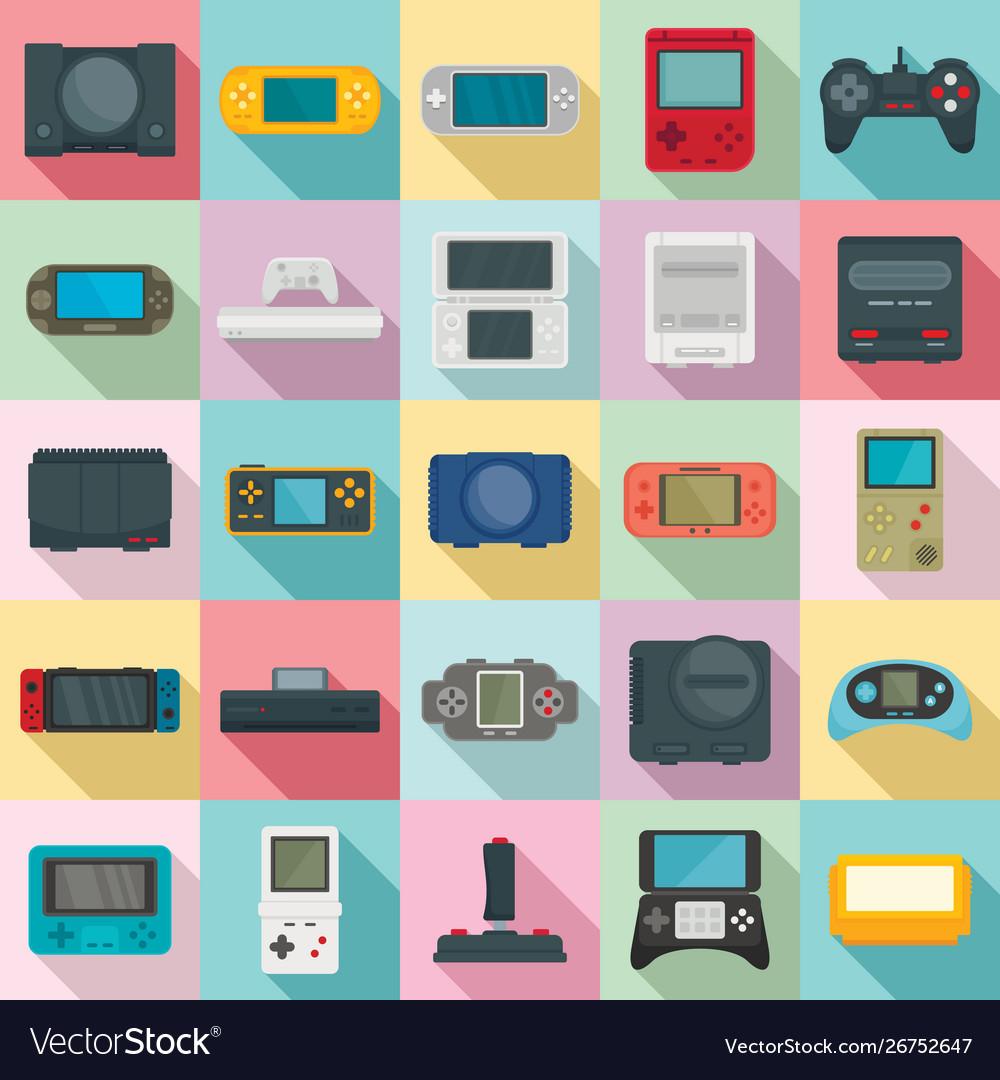 Console icons set flat style