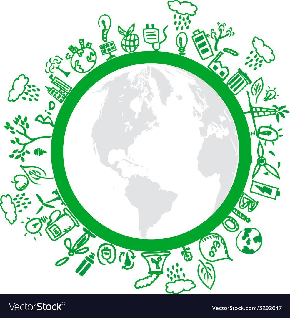 Eco Symbols In Green World Vector Image