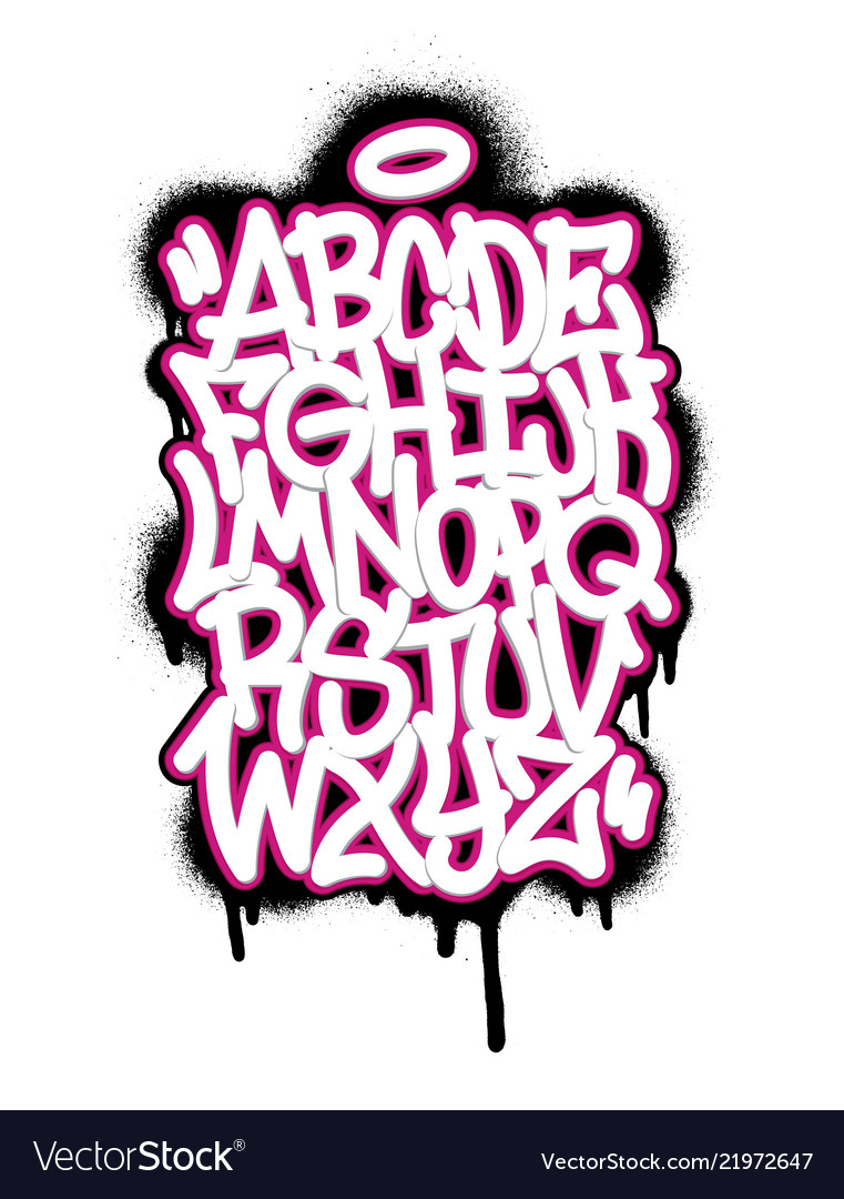 Handwritten graffiti font alphabet et on white
