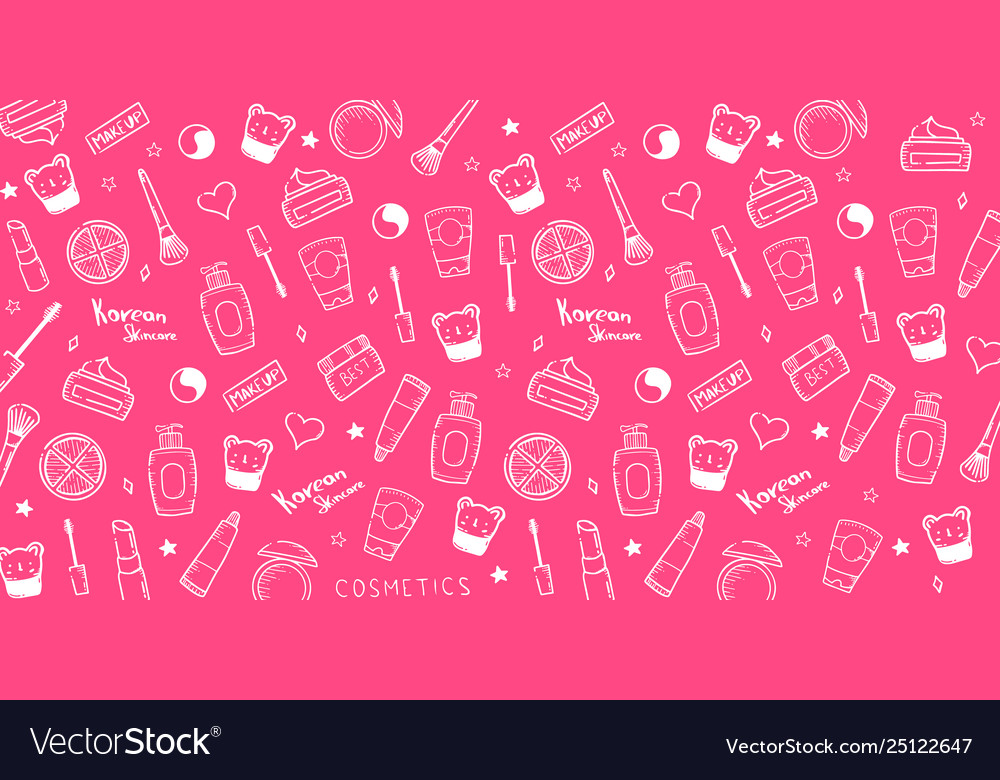 Korean Cosmetics K Beauty Banner With Hand Draw Vector Image