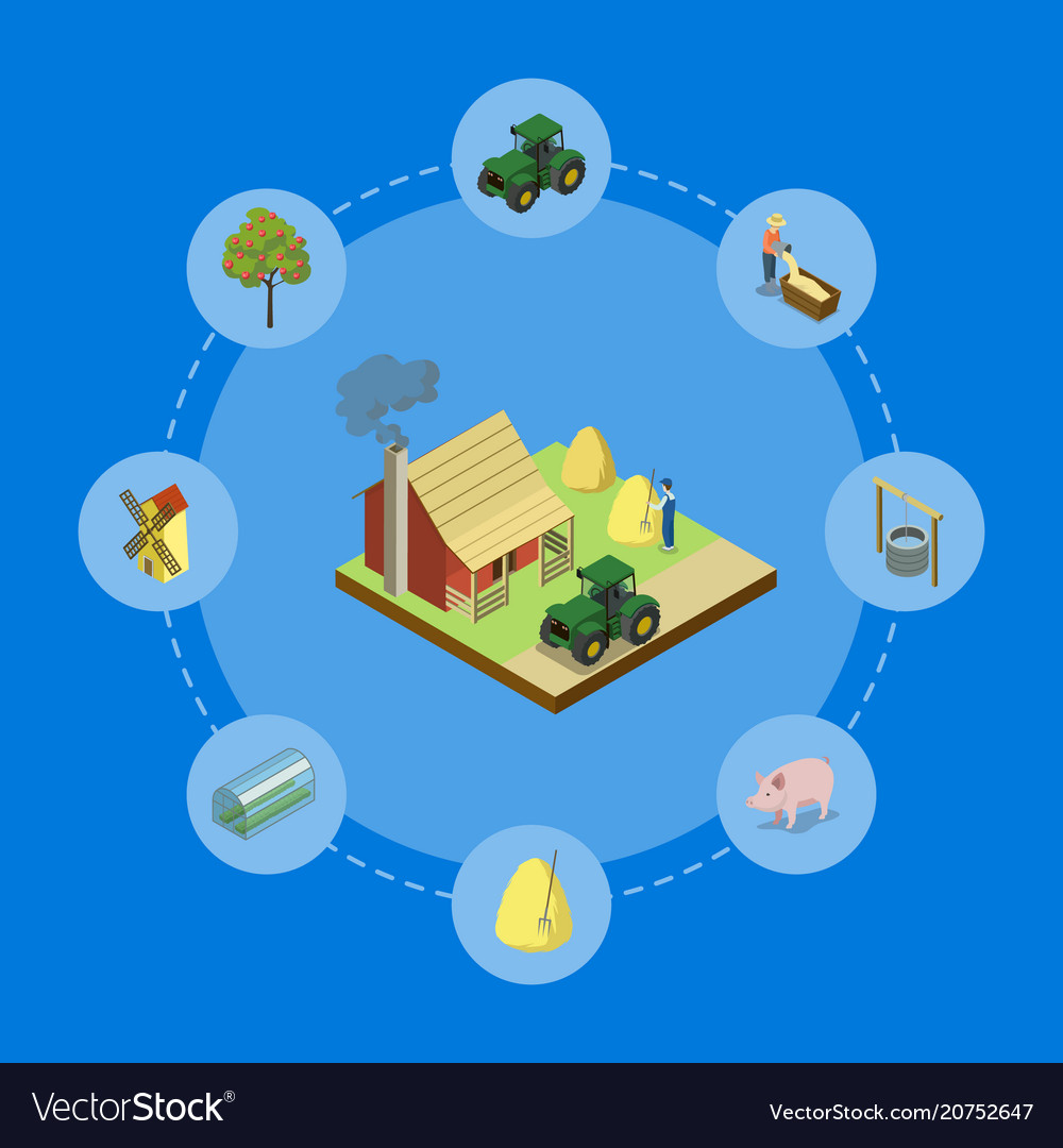 Natural farming isometric 3d banner vector image