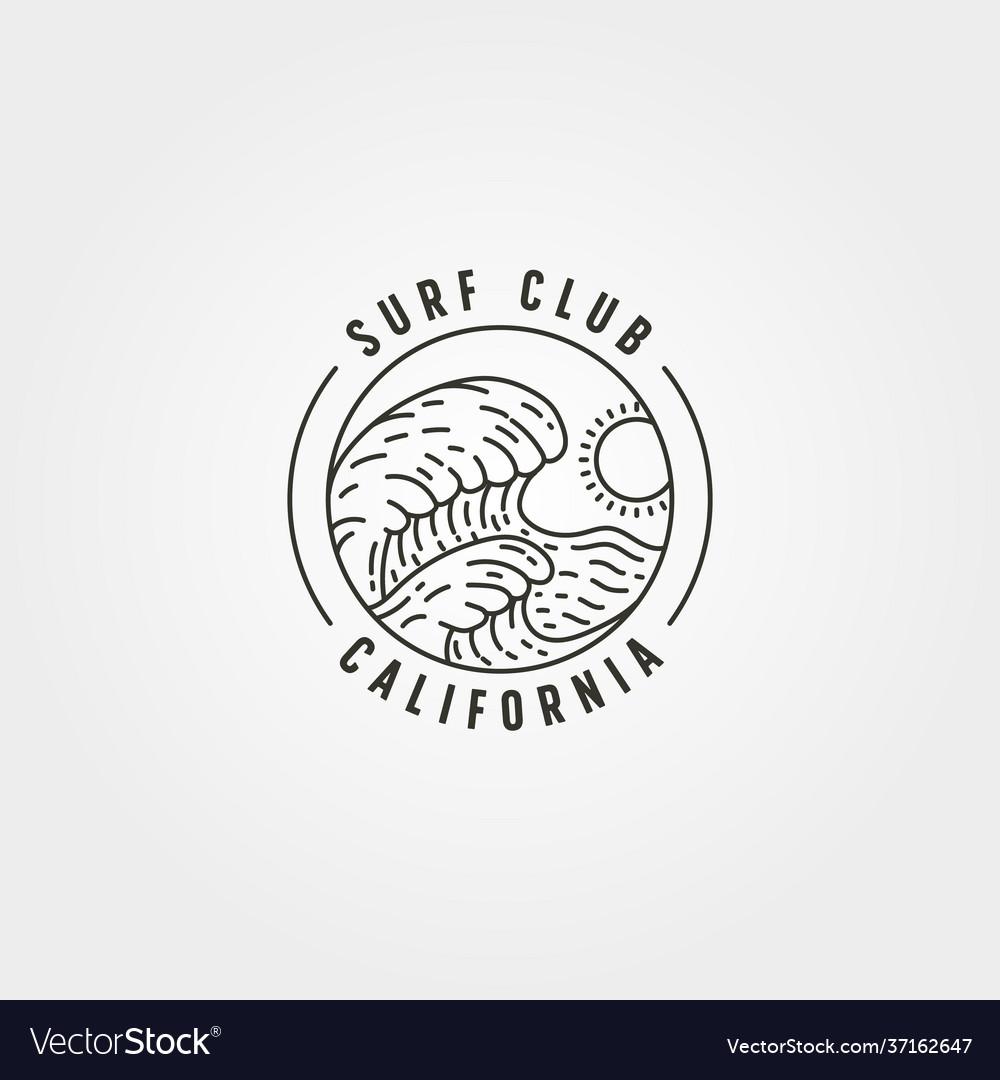 Ocean wave surf line logo symbol design