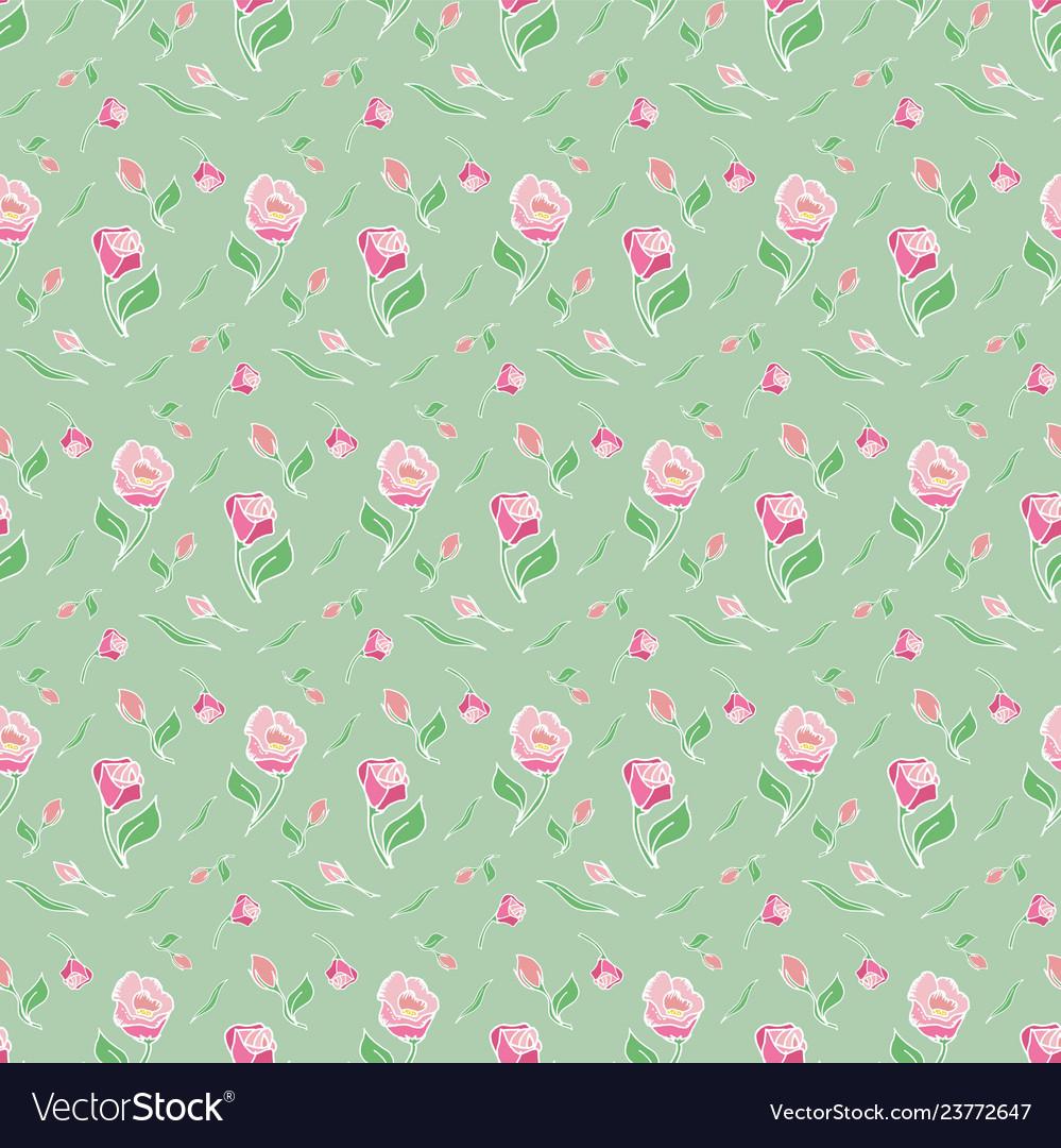 Pattern flower pink rose green background spring