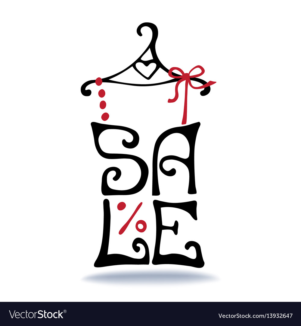 Sale letteringshirt on hangertypographic design