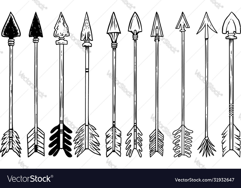 Set bow arrows in engraving style design