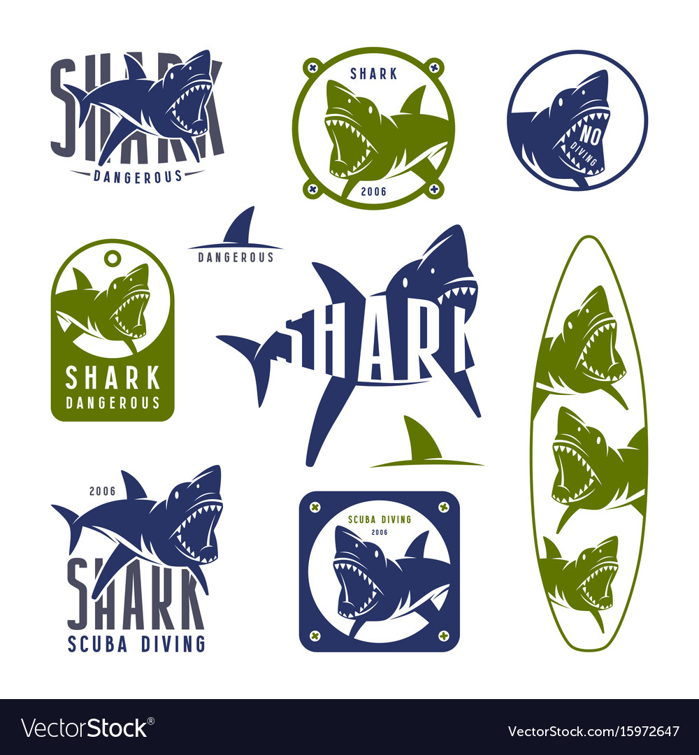 Shark dangerous emblems