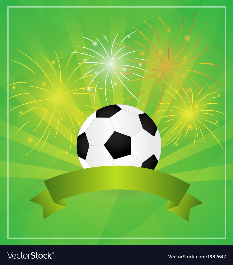 Soccer with Banner and fireworks Background