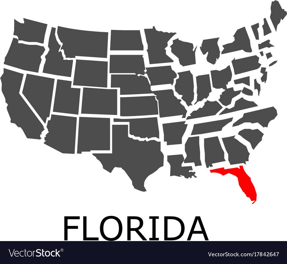 Usa Map Florida State.State Of Florida On Map Of Usa