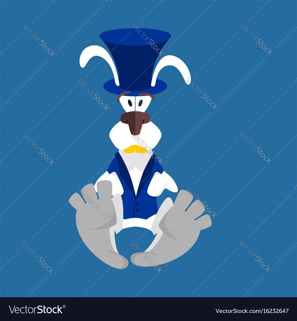 White rabbit in hat hare in blue vest alice in