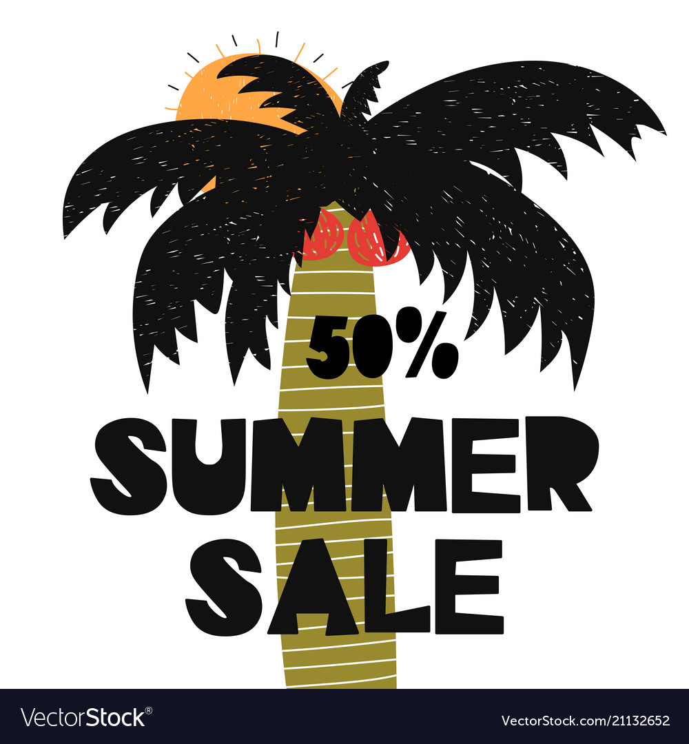 Advert card with lettering 50 summer sale wit palm