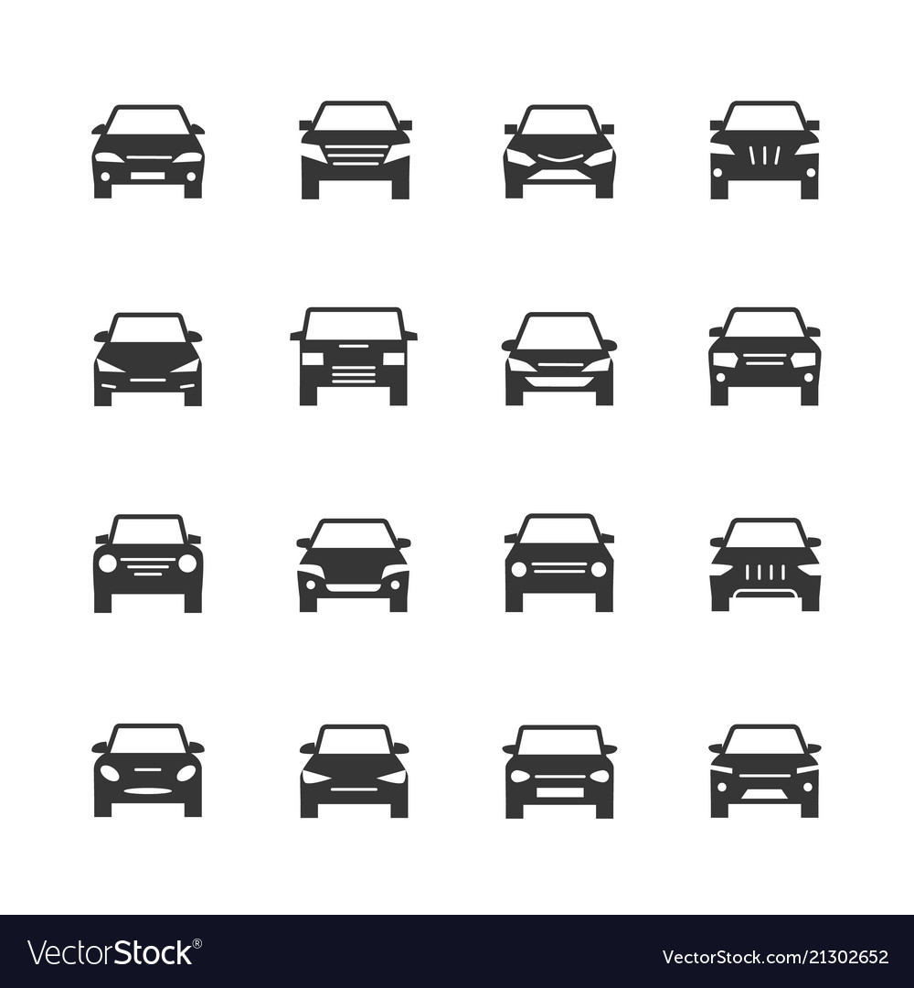 Cars front view signs vehicle black silhouette
