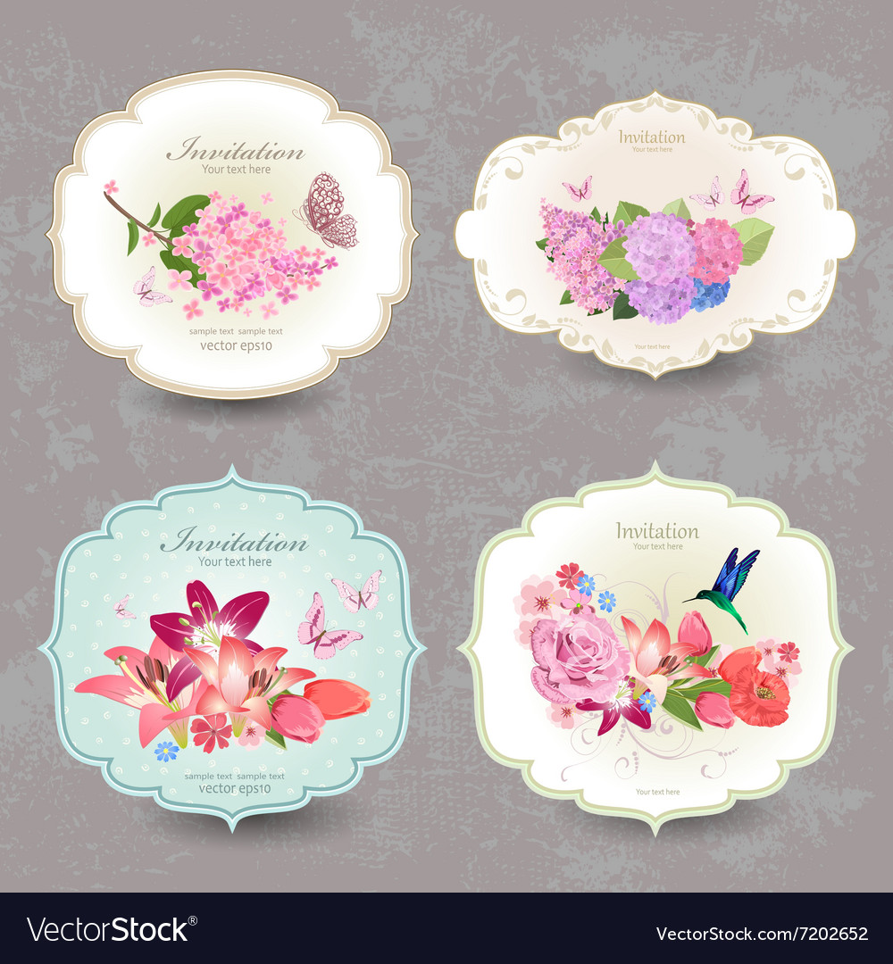 Collection of vintage labels with flowers and vector image