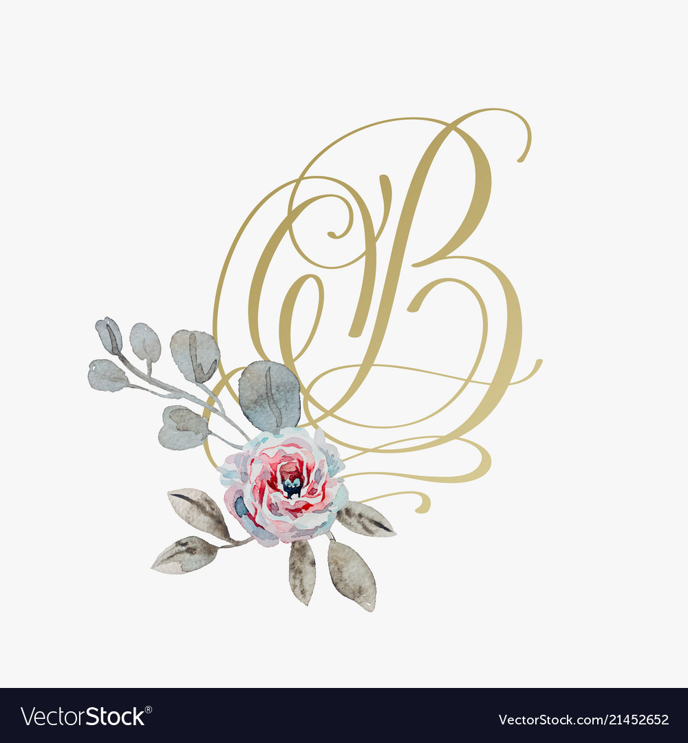 Golden hand lettering font with handmade rose
