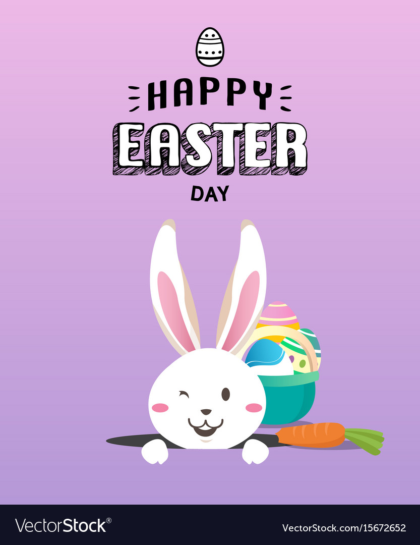 Happy easter day with white easter rabbit
