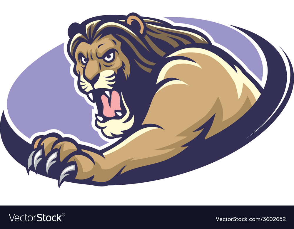 Lion mascot scratching vector image