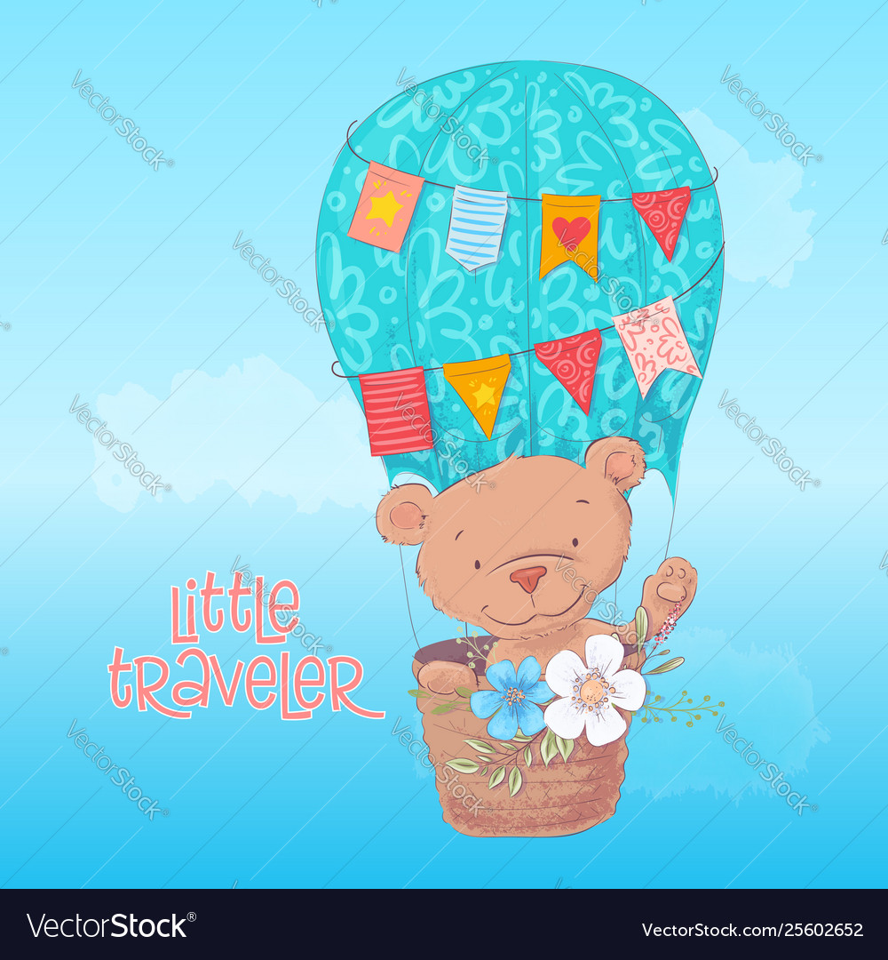 Postcard poster a cute bear in a balloon with