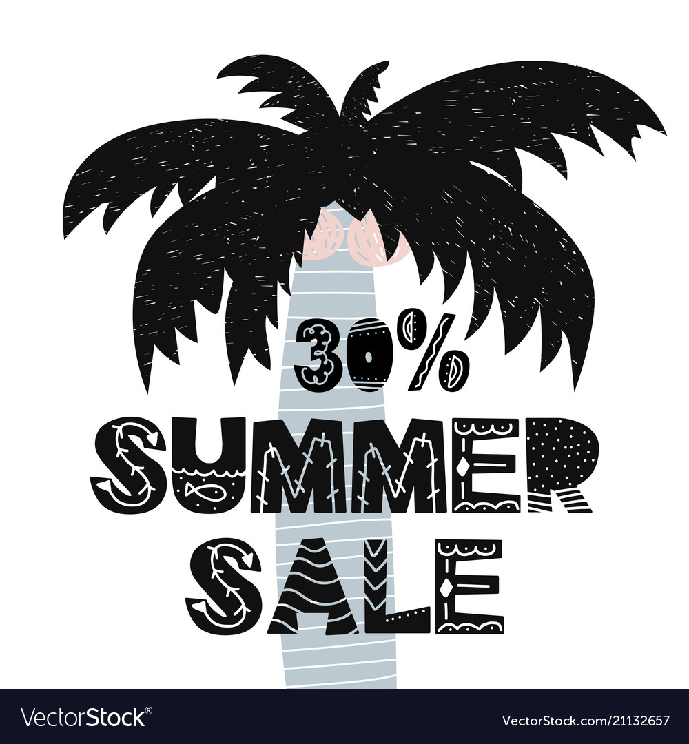 Advert card with lettering 30 summer sale wit palm