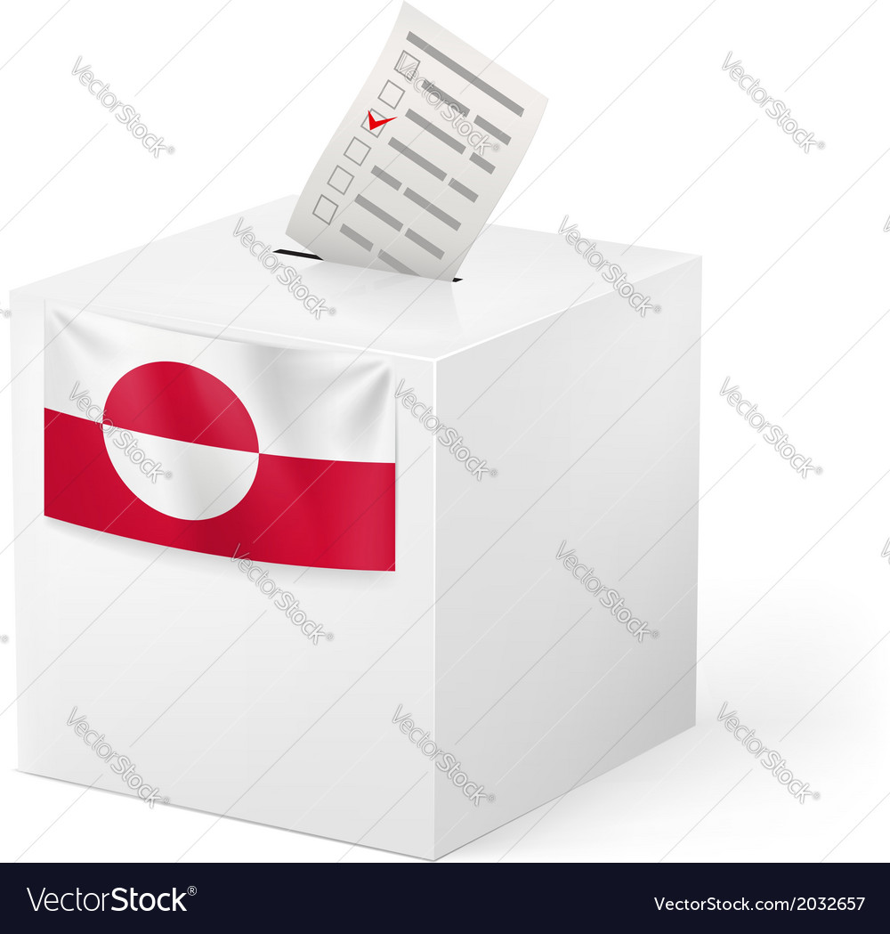 Ballot box with voting paper Greenland