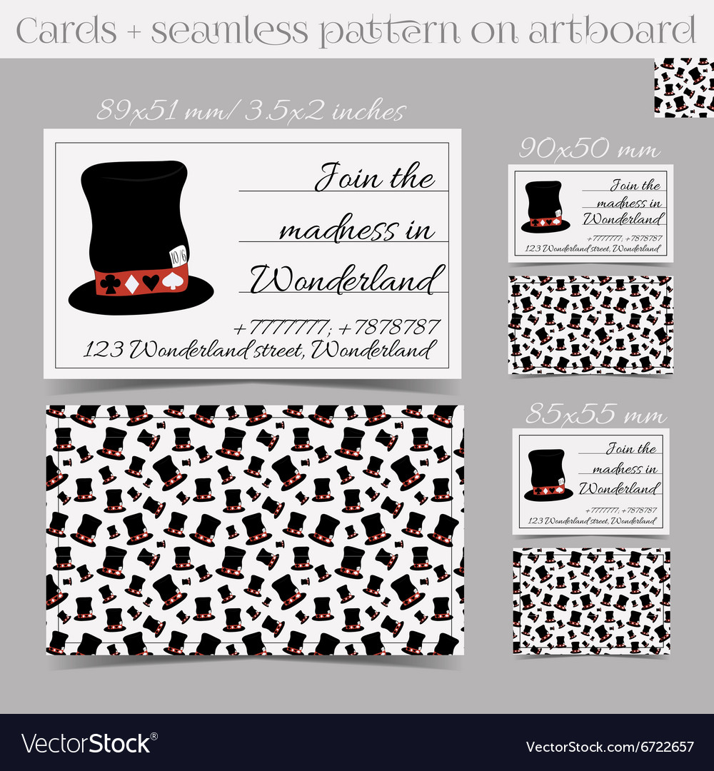 Cards Templates Hatter Hat From Wonderland Vector Image