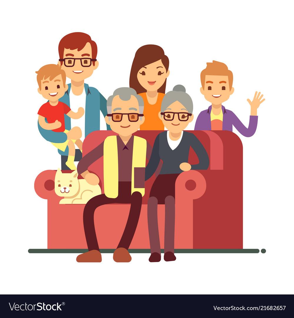 Cartoon style family isolated on white background