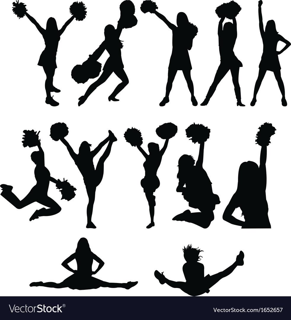 Cheerleader silhouette set