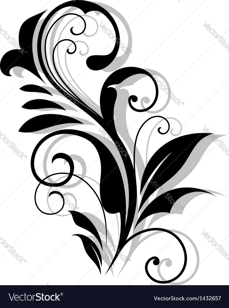 Curly floral embellishment vector image